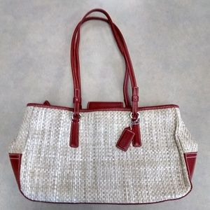 Coach 8158 straw and leather tote bag